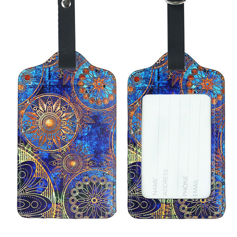 LIZI MANDU PU Leather Luggage Tags Suitcase Labels Bag Travel Accessories - Set of 2(Blue Flower)