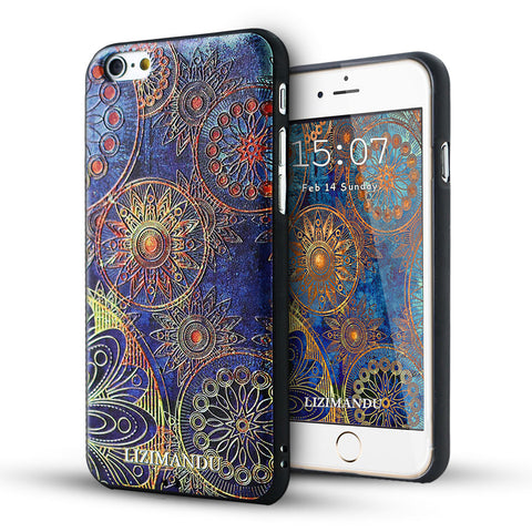 iPhone 6 / 6s Textured Soft Case (Blue Flower)