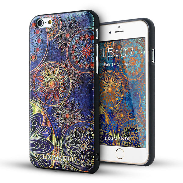 iPhone 6s case,LIZI MANDU TPU 3d pattern Case for iPhone 6s case(Blue Flower)