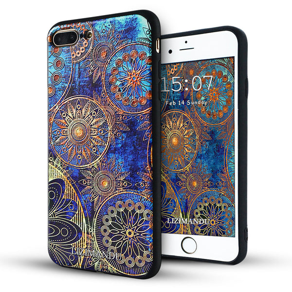iPhone 8 Plus Case, iPhone 7 Plus Case, LIZI MANDU TPU Texture Pattern Case for iPhone 7 8 Plus(Blue Flower)