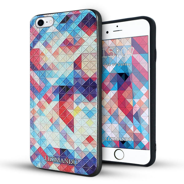 iphone 6s plus case,iphone 6 plus case,LIZI MANDU soft TPU textured pattern Case for iphone 6 plus/6s plus(Colorful Pizzle)