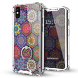 iPhone X Case,LIZI MANDU Ring Holder Kickstand Flexible TPU Soft Textured Pattern Case For iPhone X(Hexagon Bohemia)