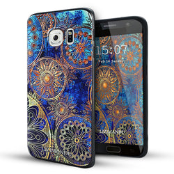 Samsung Galaxy S6 Edge Case,Lizimandu Soft TPU Textured Pattern Case for Samsung Galaxy S6 edge(Blue Flower)