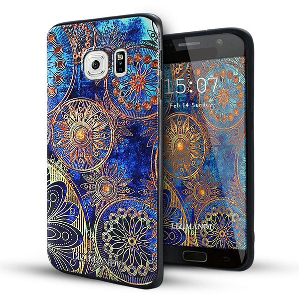 Samsung Galaxy S6 Edge Case,LIZI MANDU Soft TPU Textured Pattern Case for Samsung Galaxy S6 edge(Blue Flower)