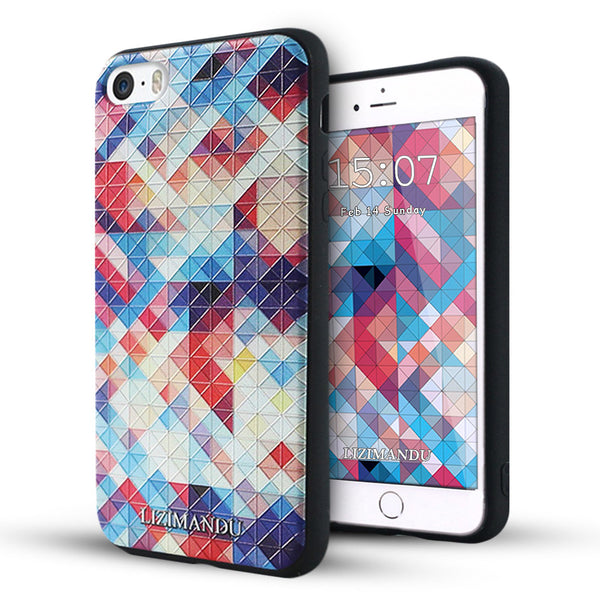 iPhone 5s Case,LIZI MANDU Soft TPU textured pattern Case for iPhone 5s/5/se(Colorful Pizzle)