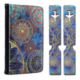 Passport Holder + Luggage Tags, LIZI MANDU Protective PU Leather Wallet Case(Blue Flower)