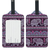 LIZI MANDU PU Leather Luggage Tags Suitcase Labels Bag Travel Accessories - Set of 2(Elephant Purple)