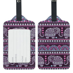 Lizimandu PU Leather Luggage Tags Suitcase Labels Bag Travel Accessories - Set of 2(Elephant Purple)