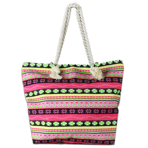 Lizi Mandu Beach Bag Canvas Tote Bag With Inner Zipper