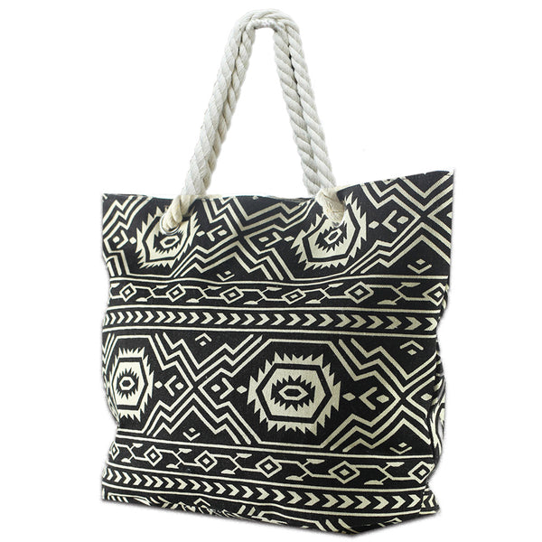 LIZI MANDU Beach Bag Canvas Tote Bag With Inner Zipper Pocket - Tote with Rope Handles(Black Bohemia)