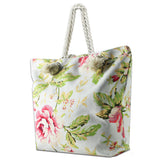 LIZI MANDU Beach Bag Canvas Tote Bag With Inner Zipper Pocket - Tote with Rope Handles(Red Rose)