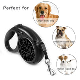 LIZI MANDU Retractable Dog Leash, 16.4 Feet Nylon with Nylon Ribbon Cord, Hand Grip, One Button Brake & Lock for Medium Dogs(Black Fragment)