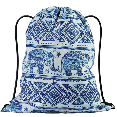 LIZI MANDU Print Drawstring Backpack Rucksack Shoulder Bags Gym Bag(Elephant)