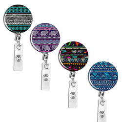 Badge Reel,LIZI MANDU Retractable Badge Holder Carabiner Reel Clip On ID Card Holders Pack of 4(Boho)