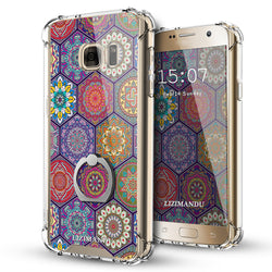 Samsung Galaxy S7 Case,Lizimandu Ring Holder Kickstand Flexible TPU Soft Textured Pattern Case For Samsung Galaxy S7(Hexagon Bohemia)
