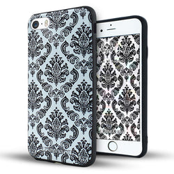 iphone 6s plus case,iphone 6 plus case,LIZI MANDU soft TPU textured pattern Case for iphone 6 plus/6s plus(Lace Flower Black)