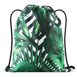 LIZI MANDU Print Drawstring Backpack Rucksack Shoulder Bags Gym Bag(Black Leaves)