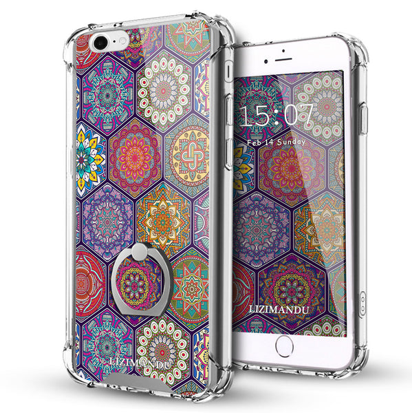 iPhone 6S Case,LIZI MANDU Ring Holder Kickstand Flexible TPU Soft Textured Pattern Case For iPhone 6(Hexagon Bohemia)