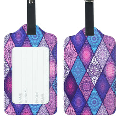 Lizimandu PU Leather Luggage Tags Suitcase Labels Bag Travel Accessories - Set of 2(Diamond Bohemia)