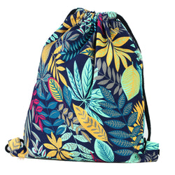 LIZI MANDU Print Drawstring Backpack Rucksack Shoulder Bags Gym Bag(Maple Blue)