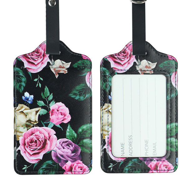 LIZI MANDU PU Leather Luggage Tags Suitcase Labels Bag Travel Accessories - Set of 2(Black Blackgound Rose)