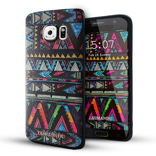 Samsung Galaxy S6 Edge Case,LIZI MANDU Soft TPU Textured Pattern Case for Samsung Galaxy S6 edge(Africa Style)