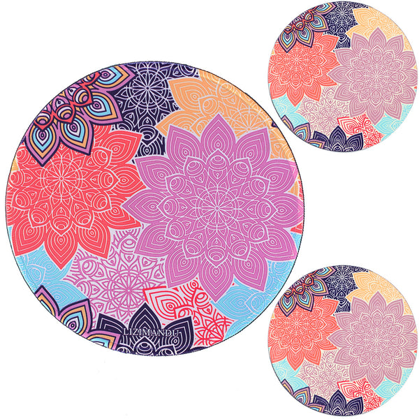 LIZI MANDU Anti Slip Soft Comfort Round Mouse Pad, Reward Rubber Coasters 2 Pack(Colorful Flower)
