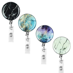 Badge Reel, LIZI MANDU Retractable Badge Holder Carabiner Reel Clip On ID Card Holders Pack of 4(Marble)