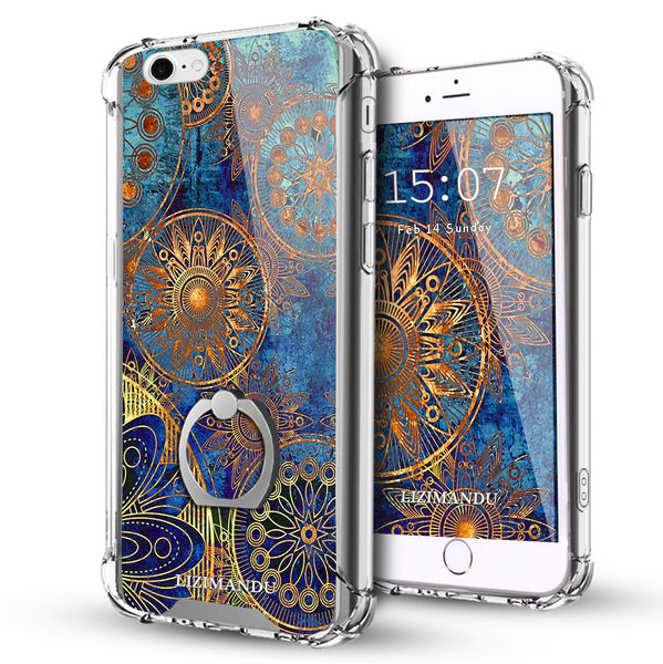 iPhone 6S Case,LIZI MANDU Ring Holder Kickstand Flexible TPU Soft Textured Pattern Case For iPhone 6(Blue Flower)