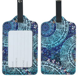 Lizimandu PU Leather Luggage Tags Suitcase Labels Bag Travel Accessories - Set of 2(Green Flower)