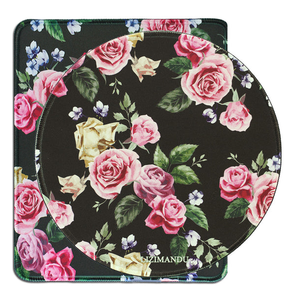 Mouse Pad Set of 2, LIZI MANDU Premium Quality Pattern Anti Slip Computer PC Mouse Mat Soft Comfort Feel Finish(Black Rose)