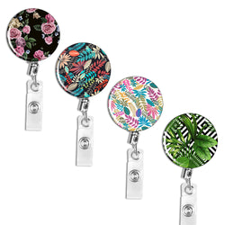 Badge Reel, LIZI MANDU Retractable Badge Holder Carabiner Reel Clip On ID Card Holders Pack of 4(Plant)