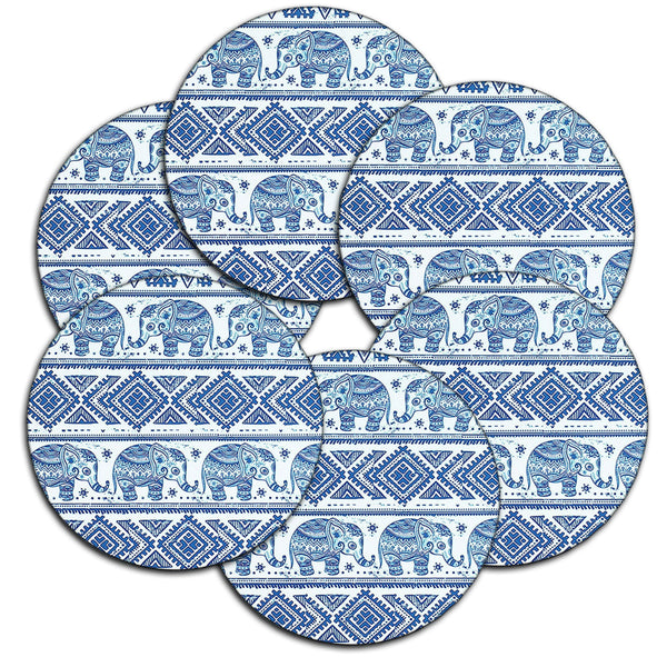 LIZI MANDU Coasters Set of 6 - Rubber Coasters Protect Furniture From Water Marks & Damage - 3.7 inch Perfect Soft Coaster Fits Any Size of Drinking Glasses(Elephant)