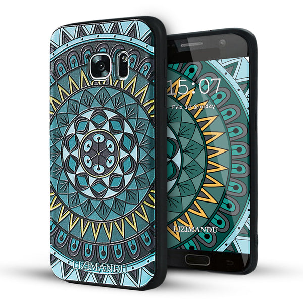 Samsung Galaxy S7 Case,LIZI MANDU Soft TPU textured pattern Case for Samsung Galaxy S7(Dark Green Compass)