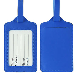 Lizimandu PU Leather Luggage Tags Suitcase Labels Bag Travel Accessories - Set of 2(Blue)