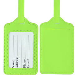 LIZI MANDU PU Leather Luggage Tags Suitcase Labels Bag Travel Accessories - Set of 2(Light Green)