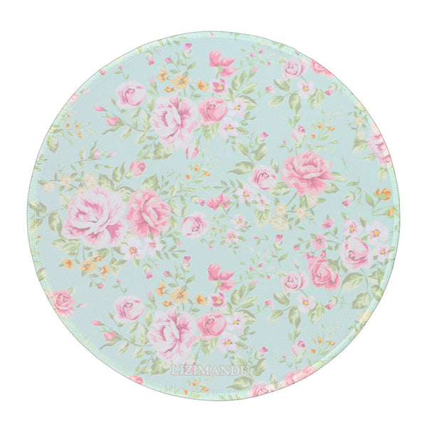 Mouse Pad (9.8 inch x 9.8 inch) ,LIZI MANDU Premium Quality Pattern Anti Slip Computer PC Round Mouse Mat Soft Comfort Feel Finish(Blue Background Rose)