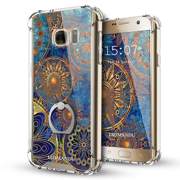 Samsung Galaxy S7 Case,LIZI MANDU Ring Holder Kickstand Flexible TPU Soft Textured Pattern Case For Samsung Galaxy S7(Blue Flower)