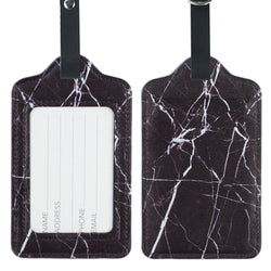 LIZI MANDU PU Leather Luggage Tags Suitcase Labels Bag Travel Accessories - Set of 2(Marble Black)