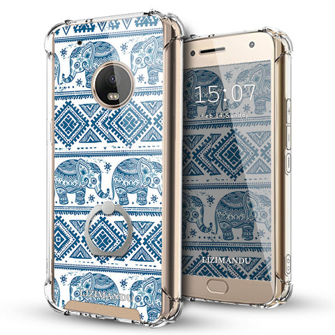 Moto G5 Plus Case,LIZI MANDU Ring Holder Kickstand Flexible TPU Soft Textured Pattern Case For Moto G5 Plus(Elephant)
