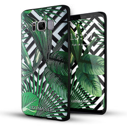 Samsung Galaxy S8 Case,Lizimandu Soft TPU textured pattern Case for Samsung Galaxy S8(Black Striped Leaves)