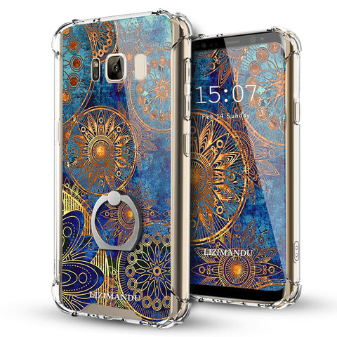 Samsung Galaxy S8 Case,Lizimandu Ring Holder Kickstand Flexible TPU Soft Textured Pattern Case For Samsung Galaxy S8(Blue Flower)