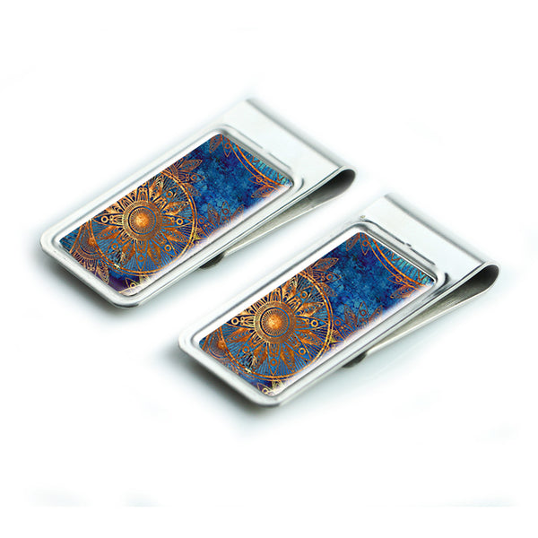 LIZI MANDU Silver Stainless Steel Slim Money Clip, Cash Money Clip Credit Card Holder(Blue Flower)