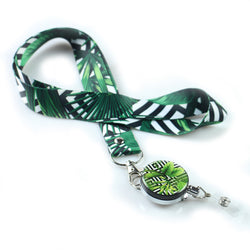 Lanyard & Badge Reel,LIZI MANDU Retractable Badge Holder Carabiner Reel Clip On ID Card Holders(Black Leaves)