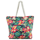 LIZI MANDU Beach Bag Canvas Tote Bag With Inner Zipper Pocket - Tote with Rope Handles(Green Leaf Flower)