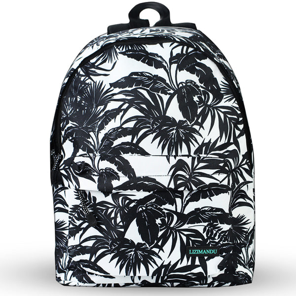 LIZI MANDU Backpack for Girls and Women Casual Canvas School Backpack Sports Travel Bag(Coconut leaves)