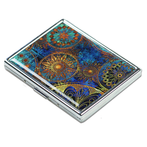 LIZI MANDU Art Stainless Steel ID or Cigarettes Case and 100's Cigarette(Blue Flower)