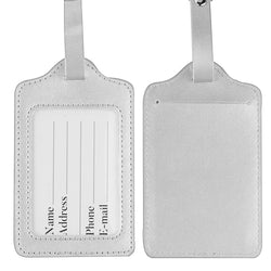 LIZI MANDU PU Leather Luggage Tags Suitcase Labels Bag Travel Accessories - Set of 2(Silver)