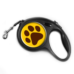LIZI MANDU Retractable Dog Leash, 16.4 Feet Nylon with Nylon Ribbon Cord, Hand Grip, One Button Brake & Lock for Medium Dogs(Dog Footprint)