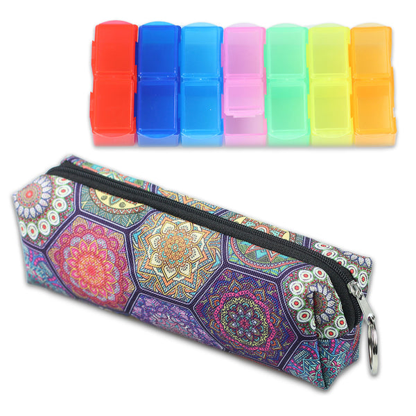 LIZI MANDU Weekly Pill Organizer,Twice-a-Day,AM/PM Push Button Pill Planner (XL) Includes Pill Box Storage bag(Hexagon Boho)